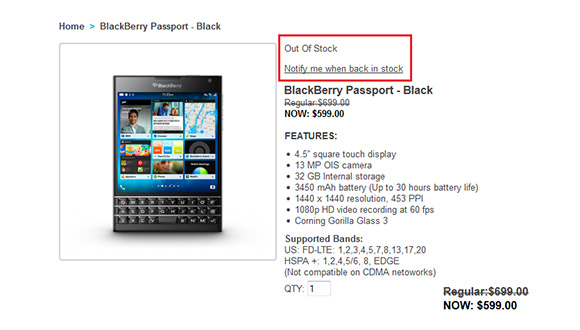 BlackBerry Passport Tükendi!